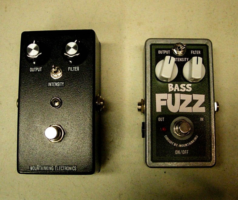 Prototype and production model of the Mountainking designed Devi Ever BASS FUZZ