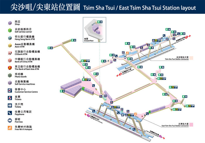 List of station layouts can be found here:  http://www.mtr.com.hk/en/customer/services/system_map.html