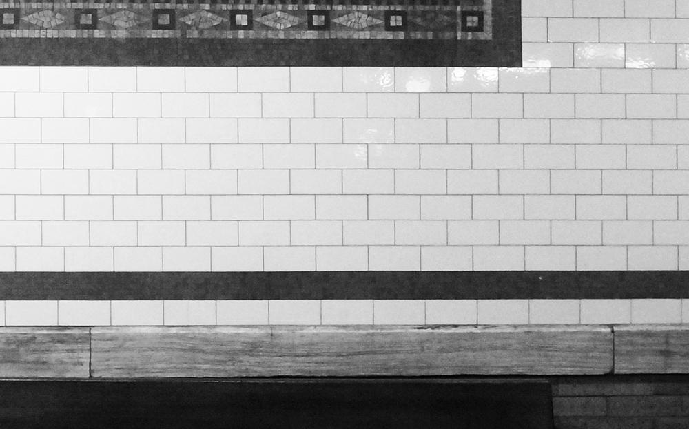 """6"""" x 3"""" subway tile in Columbus Circle Station"""