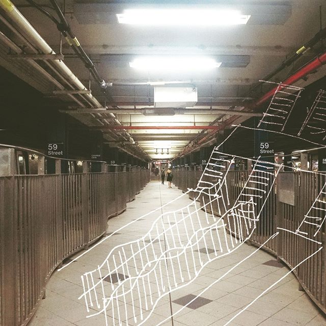 That wavy walkway between tracks - 59th Street Columbus Circle / A / C / B / D / 1 . . We are now on #Etsy! Click link in bio for discounted prints. . #Nyc #Subway #NycSubway #Manhattan #59thStreet #ColumbusCircle #Underground #Railing #Cartography #Station #MidtownWest #Sketch #Architecture #Collage #AC #BD #1Train . #ProjectSubwayNYC