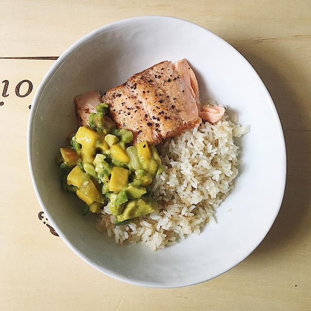 Pan-seared Salmon with Coconut Rice (basmati rice cooked according to package directions in equal parts coconut milk and water) and Avocado Mango Salsa. I made a huge container of salsa with 3 avocados, 3 mangos, 1 peach, 1 green bell pepper, and 1/2 a small white onion, all diced small, plus the juice of 2 limes and S&P to taste. Summery, fresh, nourishing, and easy!