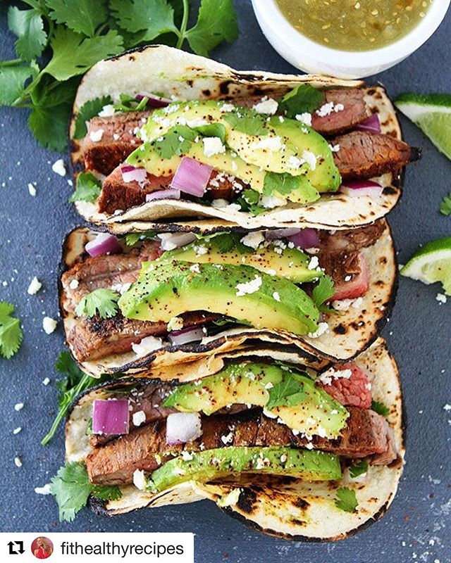 I ❤️ tacos because they are so versatile and easy. Add protein, cilantro, onion, avocado, lime. You can fill them with anything you want AND make them light on calories. Try these!  Thanks! @fithealthyrecipes ・・・ GRILLED CHILI LIME STEAK TACOS By @peasandcrayons ❤️ @peasandcrayons ~ 1 1/2 pounds flank steak Juice of 2 large limes Zest of 1 large lime 2 teaspoons kosher salt 1/2 teaspoon black pepper 1 teaspoon granulated sugar 1/2 teaspoon chili powder 1/2 teaspoon cumin 1/2 teaspoon paprika  1/2 teaspoon garlic powder 1/2 teaspoon dried oregano  1/8 teaspoon ground cinnamon  Olive oil, for grill Corn tortillas 1/2 small red onion, chopped 1 large avocado, sliced 1/3 cup queso fresco Lime wedges, for serving  DIRECTIONS: Place the flank steak in a 9×13 pan. Pour lime juice over the steak and let marinate for 30 minutes, at room temperature. Meanwhile, in a small bowl, combine lime zest, salt, sugar, pepper, chili powder, cumin, paprika, oregano, and cinnamon. Rub both sides of the steak with the spice mixture, pressing with your fingers to help the rub adhere to the meat. Preheat grill to high heat. Lightly coat a paper towel with oil and, holding it with long tongs, carefully rub the oiled towel over the grill rack. Place steak directly on the grill and cook for 5 minutes on each side. Remove from grill and let the steak rest on a cutting board, covered with foil, for 10 minutes. While the steak is resting, warm the corn tortillas on the grill or use a gas flame to char them slightly. Cut the steak into strips, against the grain. Place steak strips in the corn tortillas and top with red onion, avocado, cilantro, and queso fresco. Squeeze with lime juice, if desired. Serve warm.