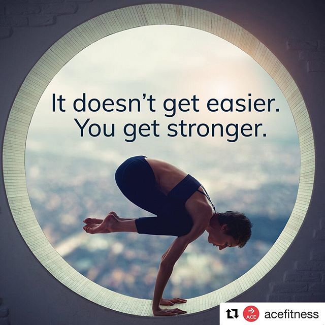STRONGER ・・・ It doesn't get easier; you get stronger.  Thanks @acefitness