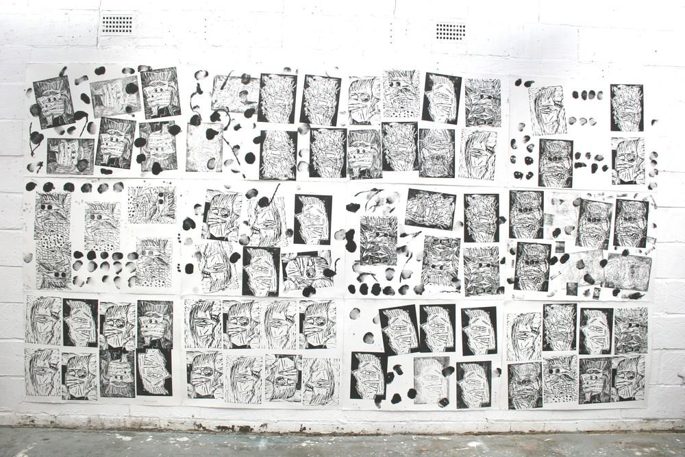 Heads: woodcuts 200cm x 500cm 2009