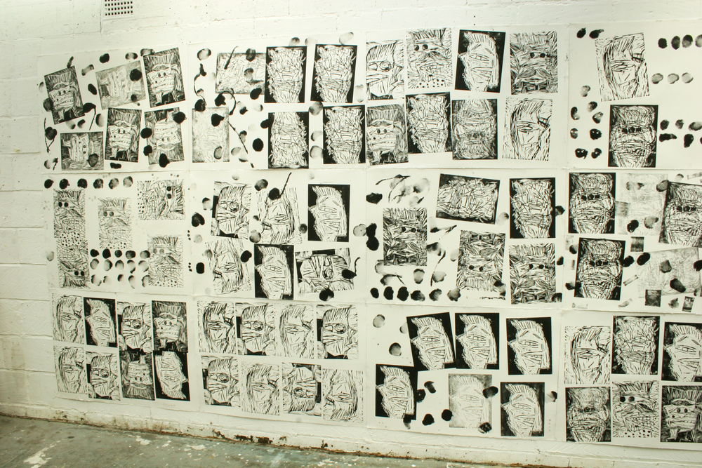 Heads (studio shot): woodcuts 200cm x 500cm 2009