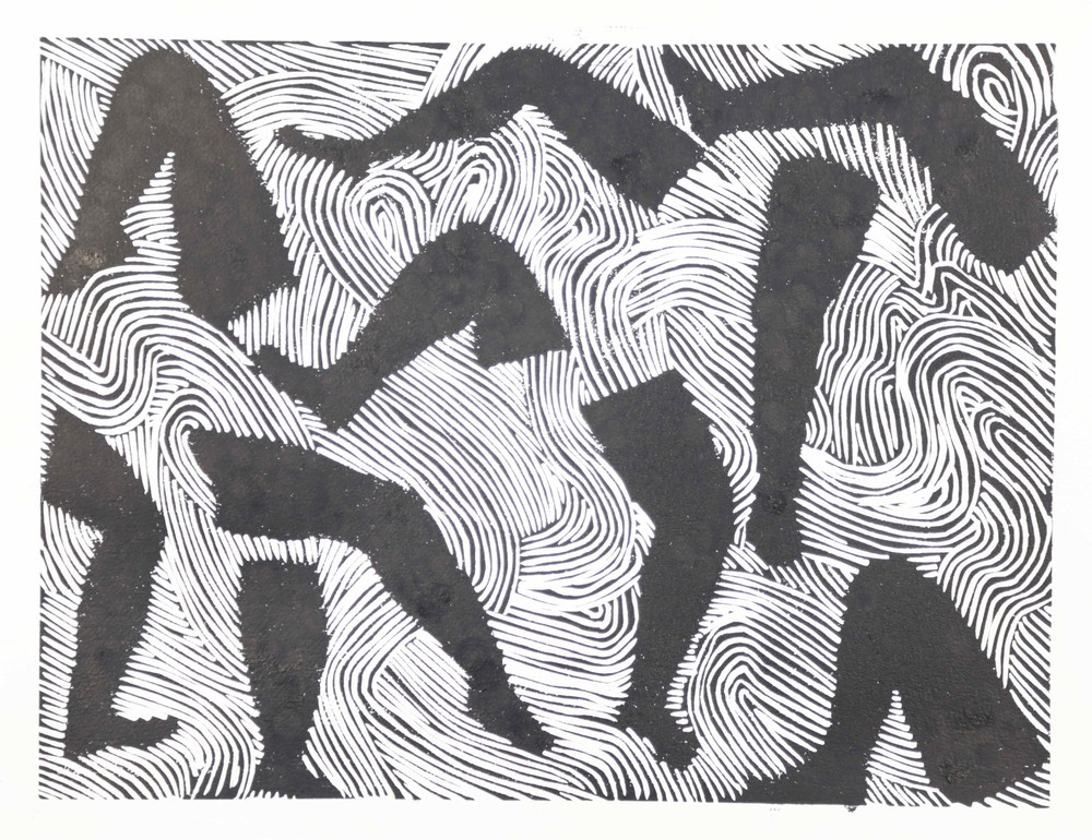 Dance of the wind: linocut 30cm x 40cm 2015