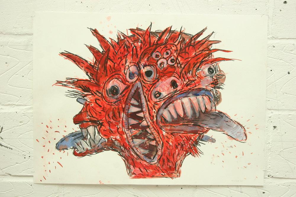 "A Devil. Circa 2011. 22"" X 30"" Watercolour on paper"