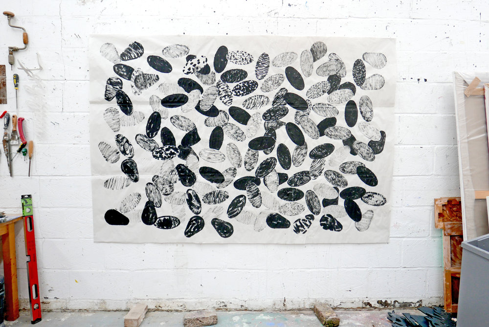 Large black drawing on newsprint with ovals (April May 2018) 026 - Copy.JPG