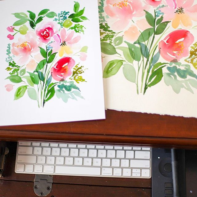 Here's what I've been up to as of late... working and painting in the studio!  #workinprogress #watercolorfloral #watercolorflowers #watercolor