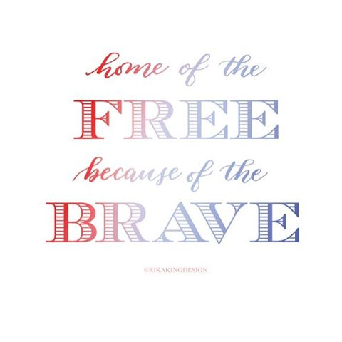 Home of the Free because of the Brave 🇺🇸. Remembering those who gave their all so that we may continue to live the American dream.  #Modern #carlislecalligrapher #design #dowhatyoulove #handlettering #modercalligraphy #rikakingdesign #studiotime #thedailytype #workflow #rikakingdesign #homeofthefreebecauseofthebrave #militaryspouse #armywife #americandream