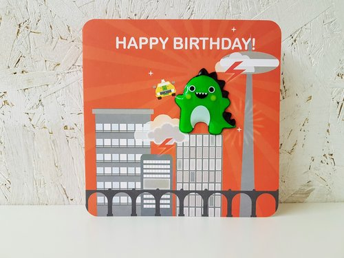 Dinosaur Happy Birthday Card Magnetic Send A Box Give Someone