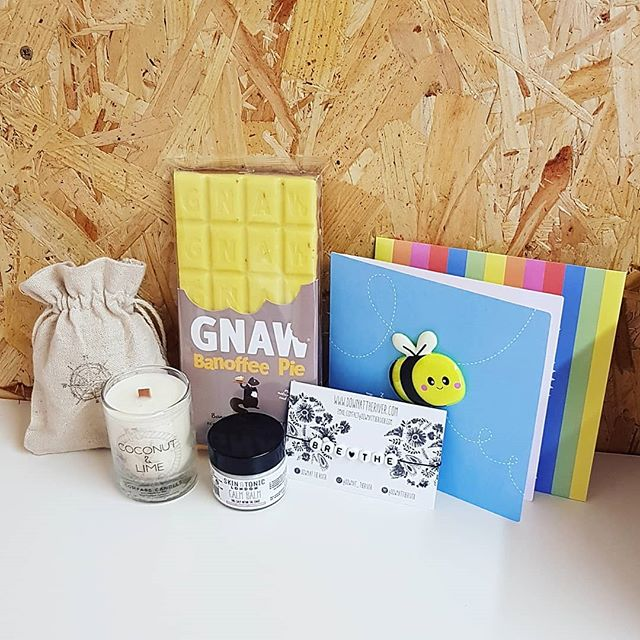 Did you know you can choose one of our ready made boxes and add some extras? This one has just gone out and is our 'Relax and Breathe' box with a scrummy banoffee bar and a handwritten card.  Lovely stuff!  www.sendabox.co