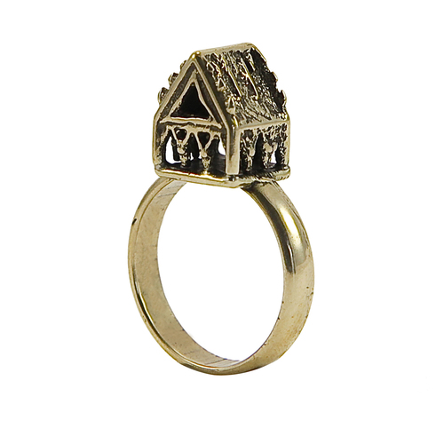 jewish wedding ring with small house in bronze - Jewish Wedding Ring