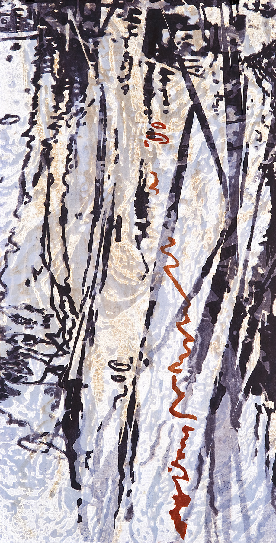 "Catherine Kernan  Drifting #2  Woodcut Monoprint  48"" x 24"""