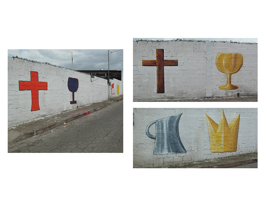After completing the wall along the main entrance to the church in Carmen, I was asked to re-paint these smaller mural images along the adjoining wall.