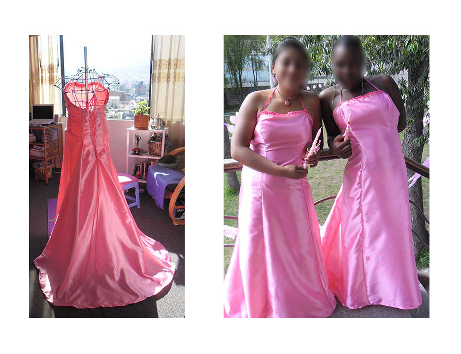 "I hand made two identical gowns for a Quinceñera celebration which I also organized and helped plan for these two girls (whom I cannot name for safety reasons), living at the orphanage/children's home ""Las Ganas"" in Quito, Ecuador. I even hand made the dress form out of wire- to match their dimensions- which thankfully were almost identical, and modeled the gown pattern off the wedding dress of a friend."