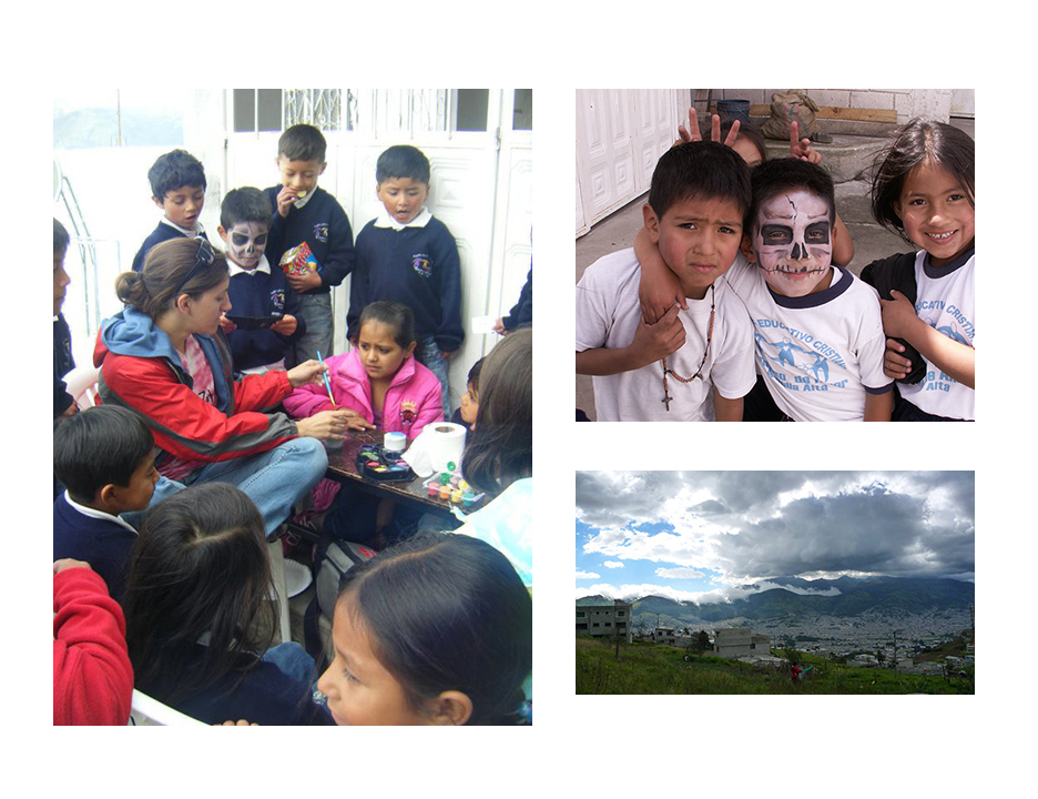 Face painting at the community built school of Arjelia Alta- my first art-service experience in Ecuador. All of the boys wanted their faces painted to look like skulls. By the end of the day- we had no white paint left!