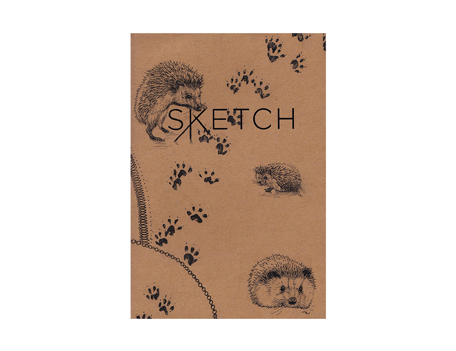 A whimsical sketchbook cover design.  Media: Pen and Ink on recycled paper