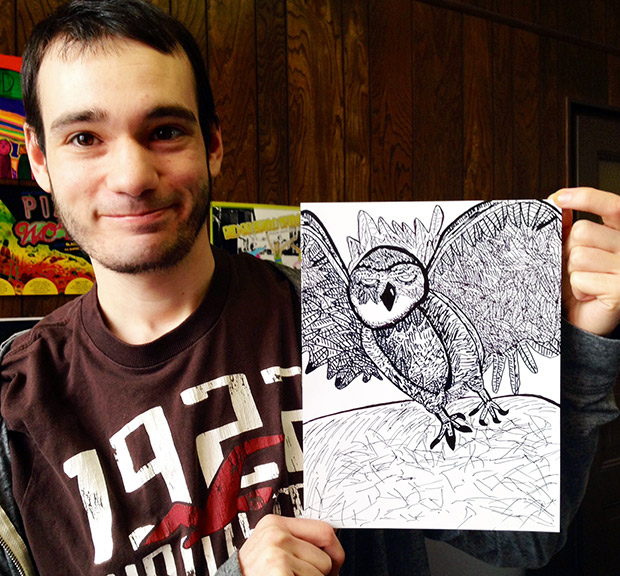 Daryl with his bird drawing