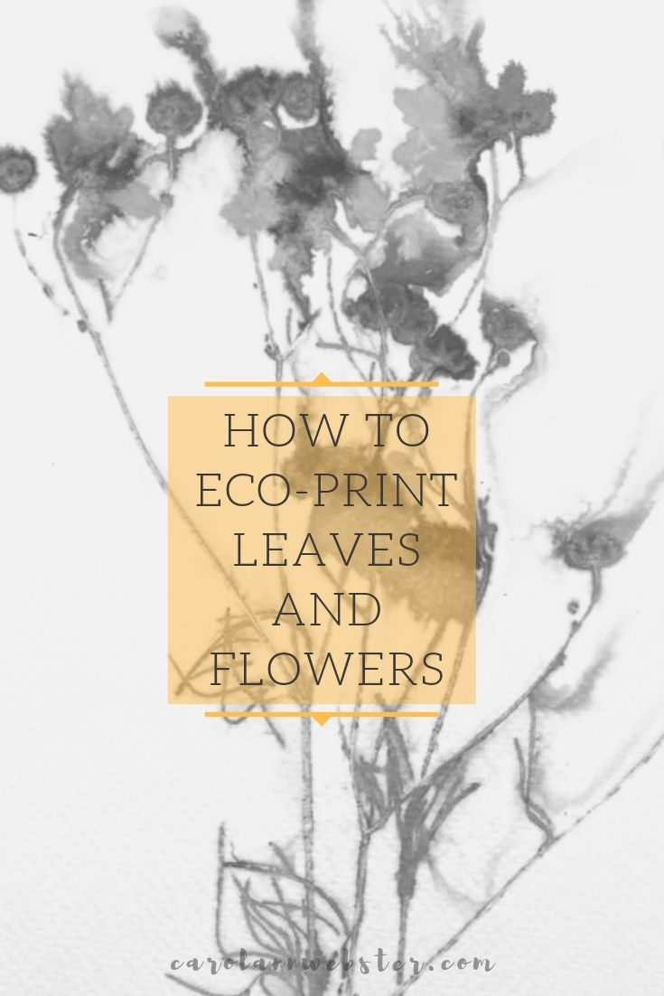 Eco-print on paper with flowers and leaves