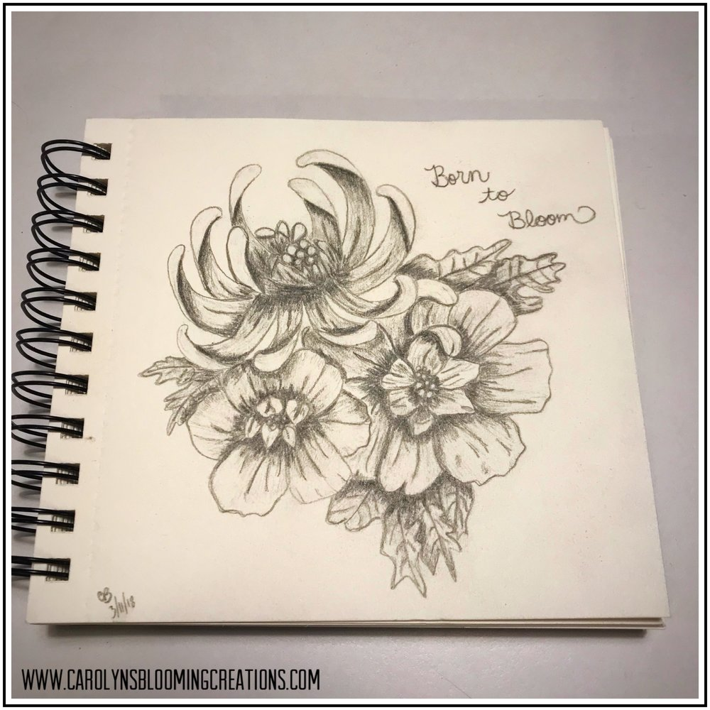 Sketch by Carolyn J. Braden: Born to Bloom