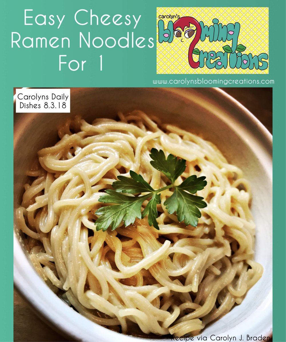 Easy Cheesy Ramen Noodles for 1 - Click this link for the recipeCarolyn loved eating ramen noodles as a snack after school. However, she learned many ramen noodle seasoning packets are filled with lots of salt and other not-so-healthy ingredients. Carolyn's ramen recipe is one that can be created just as quickly as a packaged ramen snack. She gives you a way to make it vegan (plant-based, no animal-based ingredients) or not!