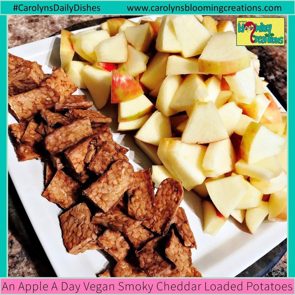 The tempeh and the apples, uncooked.   Recipe, food preparation, styling and photography by Carolyn J. Braden  Pin Me! www.carolynsbloomingcreations.com