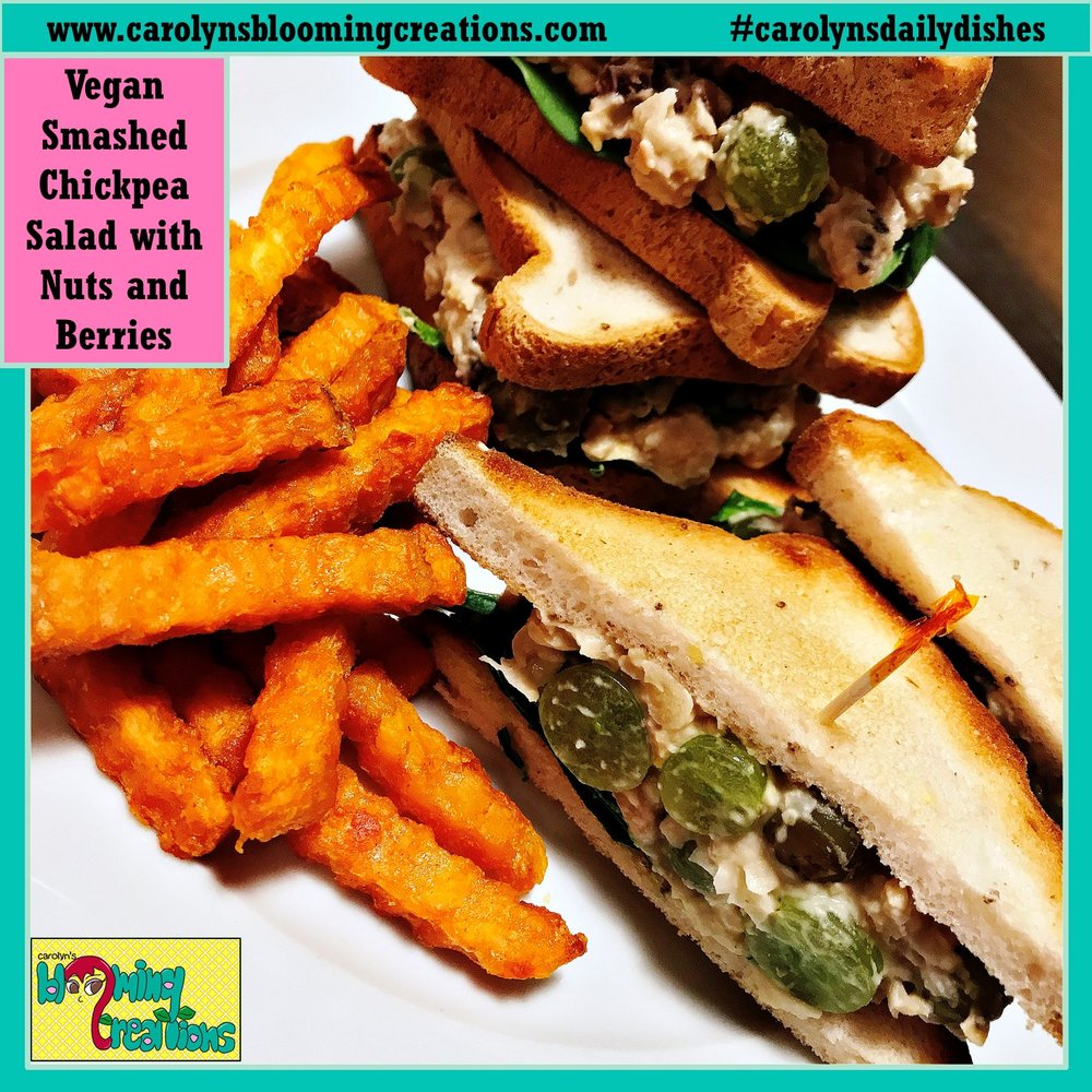 Serving suggestion: Baked Sweet Potato Fries on the side of Smashed Chickpea Salad sandwiches (made with the green grape option). Photography by Carolyn J. Braden