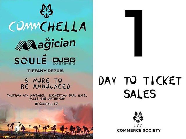 💥💥💥ONLY 1 DAY TO GO💥💥💥 The sales of tickets for the Commerce Ball will take place as follows on Thursday 26th of October: 8am - FULLS TICKETS All courses listed below are eligible to purchase a FULLS ticket, however the following courses will be given immediate priority: • BComm (Hons) • BComm International (Hons) At 8.30am, any final year students (in courses listed below) will be permitted to purchase FULLS tickets. 9am - AFTERS TICKETS Priority will be given to the courses listed below. **NOTE** Please bring your student ID for verification purposes. UCC Commerce Society reserves the right, in the event of the queue posing a health and safety risk, to admit students before the specified time - at the request of UCC staff. COURSES ELIGIBLE TO PURCHASE TICKETS TO THE UCC COMMERCE BALL: BComm (Hons) BSc (Hons) Accounting BSc (Hons) Business Information Systems BSc (Hons) Finance BSc (Hons) Business and Financial Economics BComm (Hons) International with French BComm (Hons) International German BComm (Hons) International with Italian BComm (Hons) International with Hispanic Studies BComm (Hons) International with Irish BSc (Hons) Government BSc (Hons) Food Marketing and Entrepreneurship BSc (Hons) Food Business BSc (Hons) International Development Food Policy BCL BCL (Clinical) BCL (International) BCL (Law and French) BCL (Law and Irish) BCL (Law and Business) Evening BCL Degree (part-time degree course). Hope to see you all there✨💃🏼🎉