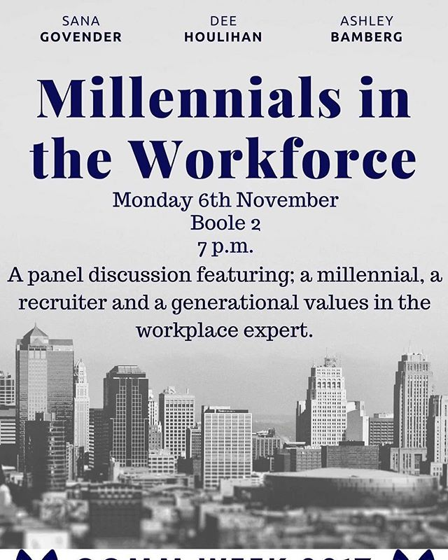 ✨Comm Week 2017 kicking off Monday at 7pm in Boole 2 with this incredible Event✨  Ucc Commerce Society are very proud to be hosting 'Millennials in the workplace' a panel discussion with Sava Govender, Dee Houlihan and Ashley Bamberg. A hugely interesting and educational event to kick off #Commweek17🔥  Come along and be in with a chance of winning a #Commchella ticket and boojum vouchers ✨⚡️ we're looking foward to seeing you all then 🤙🏻🤘🏻☺️