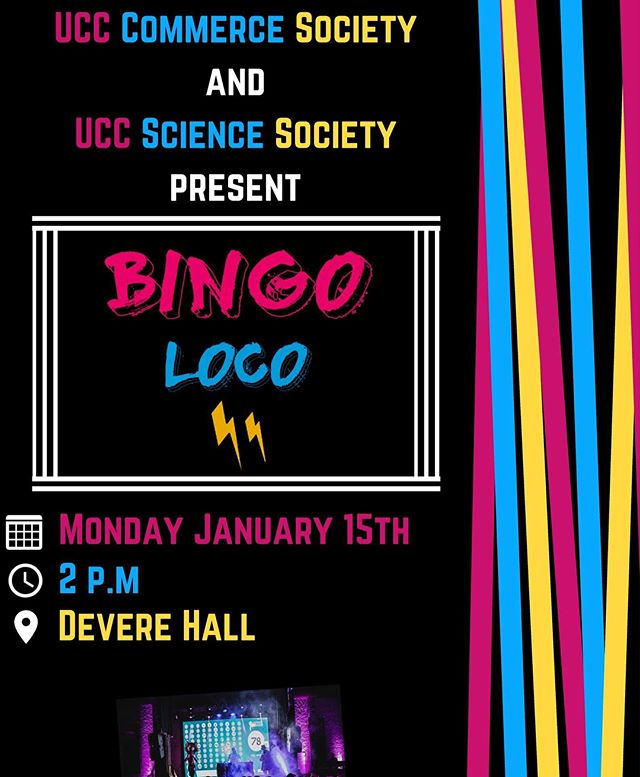FEELING THE JANUARY BLUES? Well you're in luck! We're back with a bang💥💢The Commerce society & @uccsciencesoc are excited to be bringing one of the biggest events to UCC..Presenting: 🔥🔥BINGO LOCO🔥🔥 Unsure what the expect? Swipe right for more➡️ So, tomorrow, 2PM @ Devere Hall get ready to play some bingo (with a twist)💥