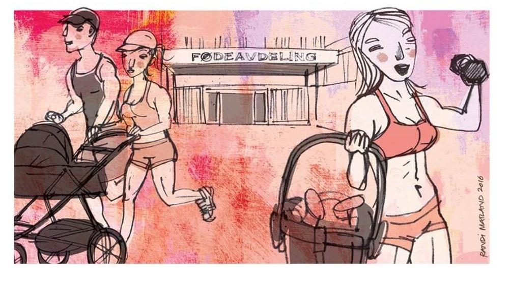 """Lånt fra Aftenposten. Randi Matlands illustrasjon til """"Det skjer noe med gravide om dagen"""" av Finn Skårderud."""