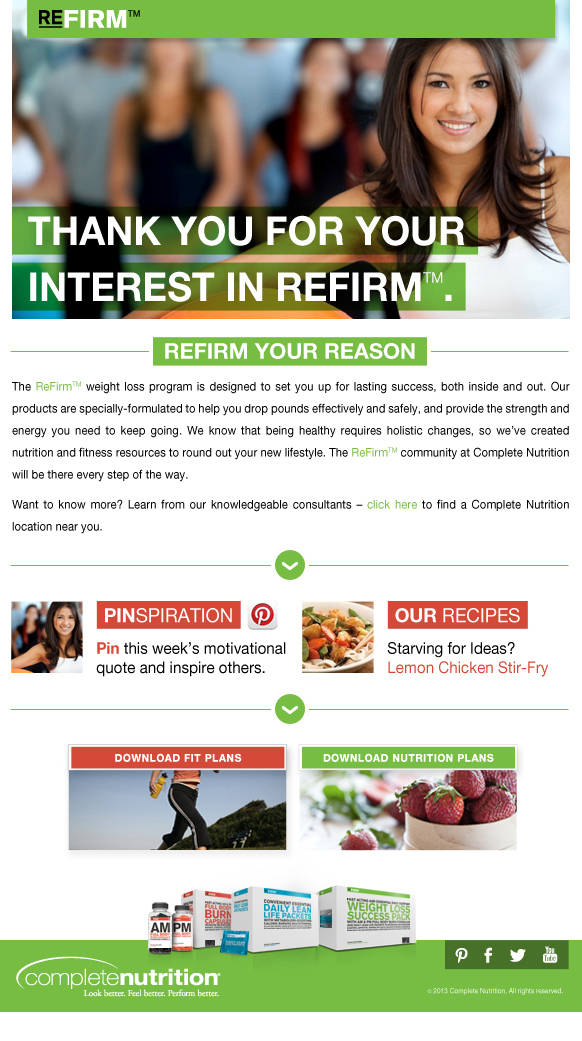 Complete Nutrition's Refirm 8 Week Email Campaign