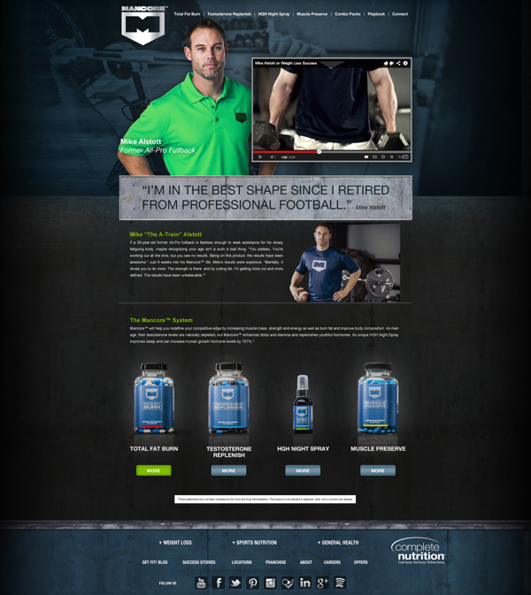 Complete Nutrition's Mancore Website -http://mancore.completenutrition.com/