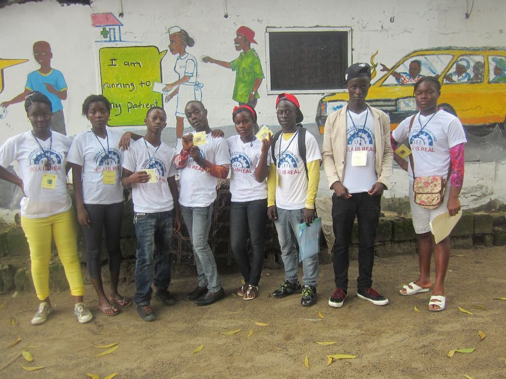Liberian students posing after their awareness campaign during the Ebola Outbreak.