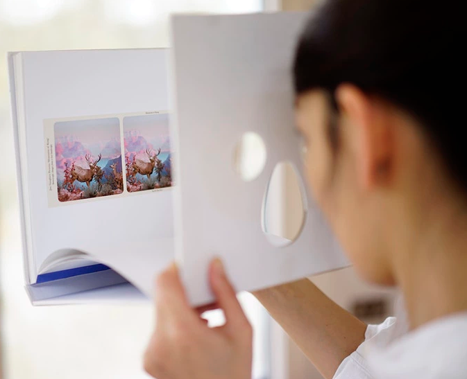 Image of a person viewing a stereo photo in Mountains of Kong book.