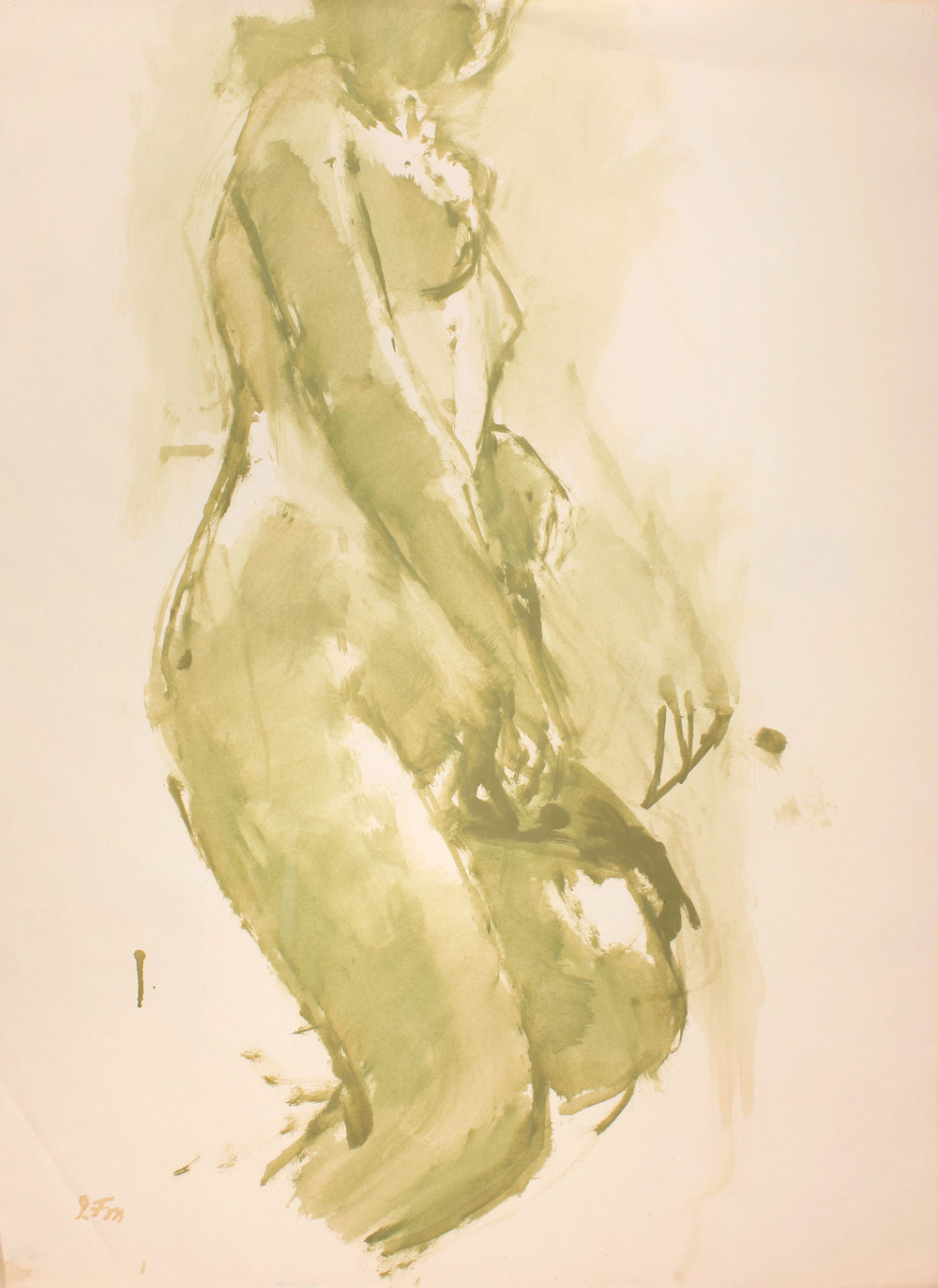 1970s_Standing_Green_Nude_oil_on_paper_30x22in_WPF586.jpg
