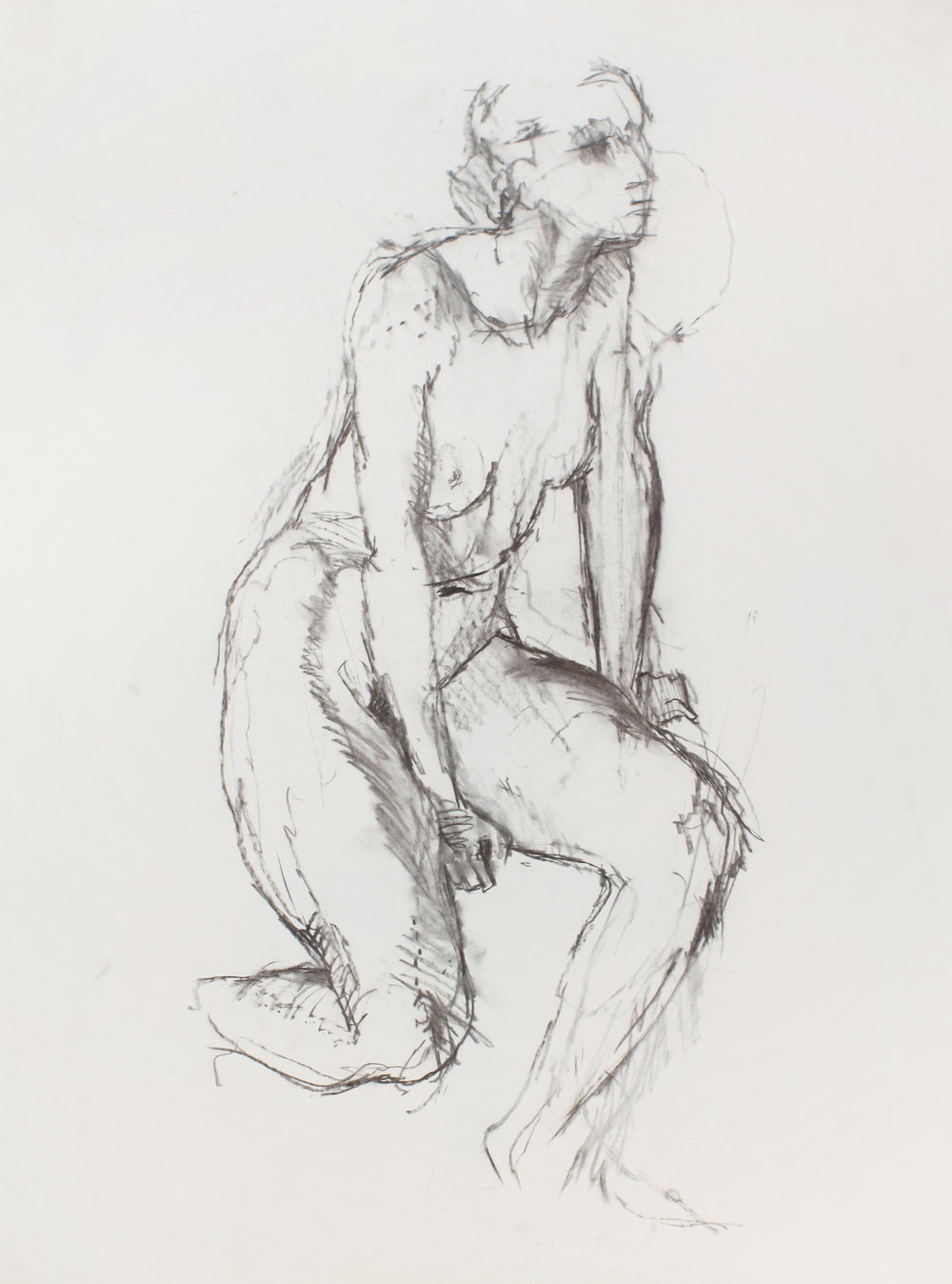 1980-90s_Crouching_Nude_with_Straight_Arms_charcoal_on_paper_30x22in_WPF471.jpg