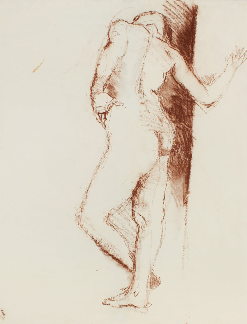 1980s_Standing_Male_Nude_Leaning_Against_Wall_brown_pastel_on_paper_26x20in_WPF483.jpg