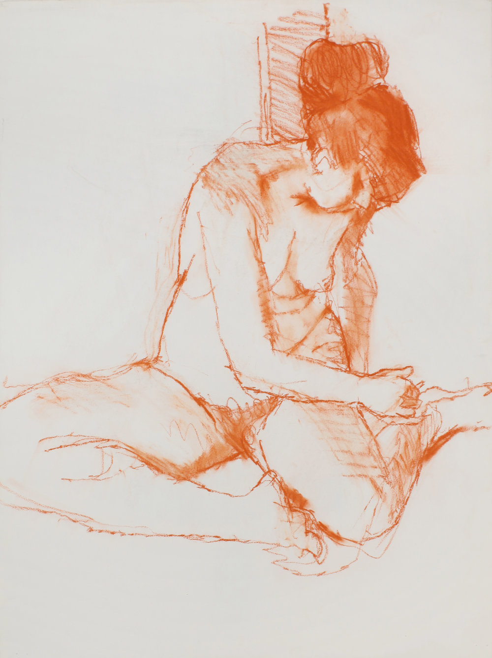 1980s_Turning_Seated_Nude_with_Bent_Legs_red_pastel_on_paper_30x22in_WPF462.jpg