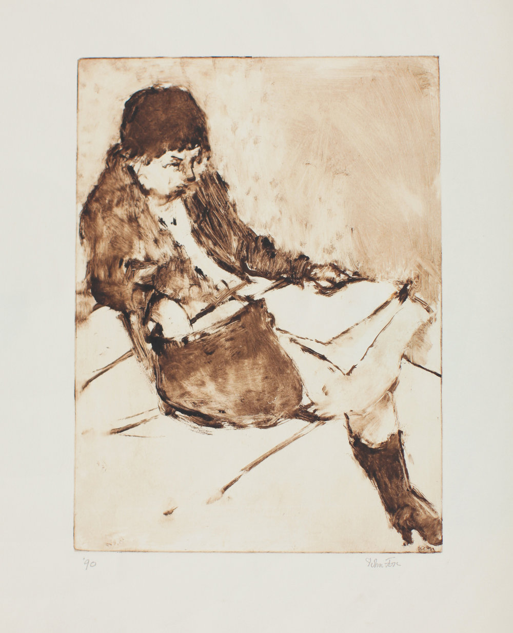 1990_Sandra_Reading_Newspaper_(dark_coat)_monotype_on_paper_17x15in_image_12x9in_WPF435.jpg