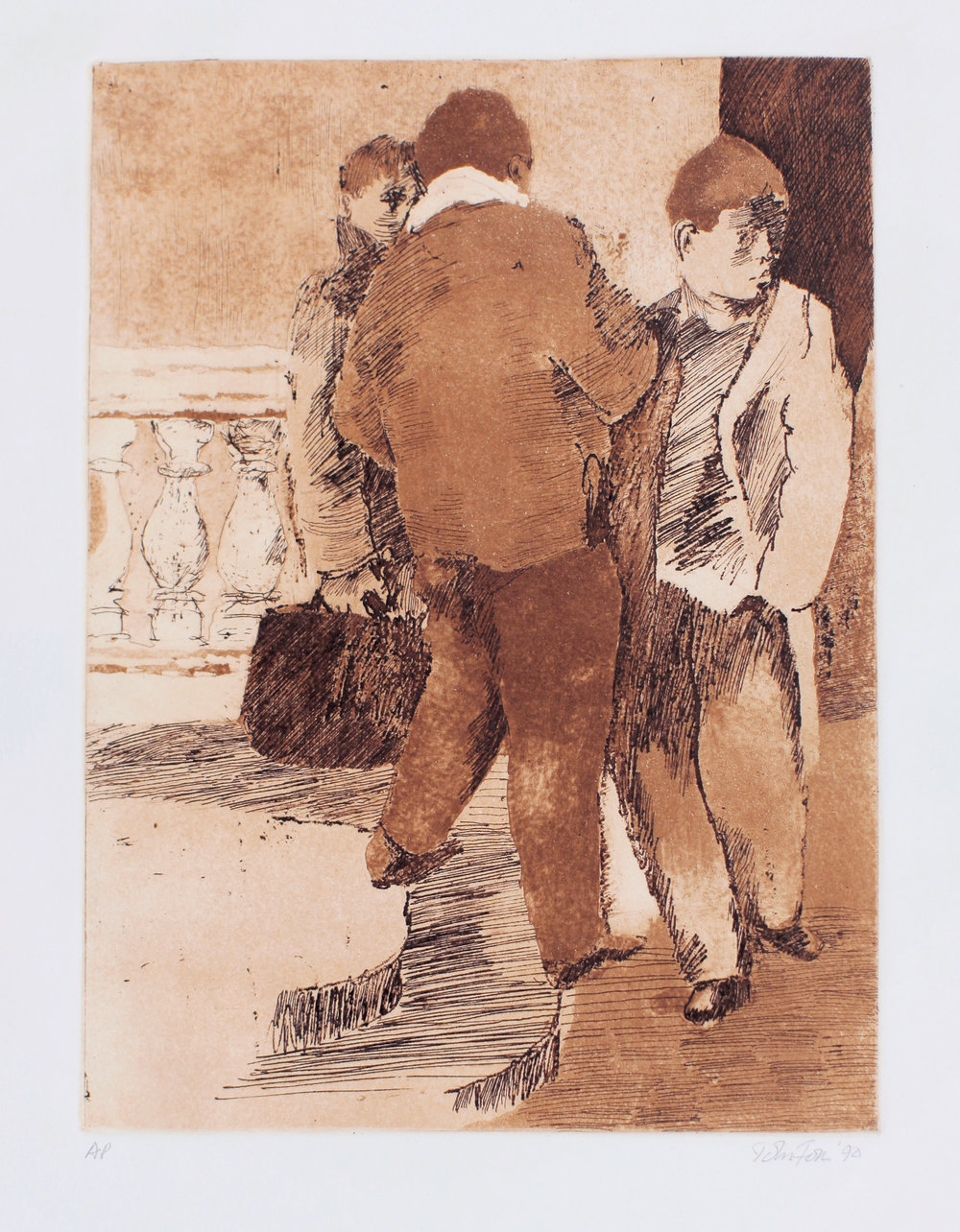 1990_Three_Men_Standing_on_Bridge_etching_drypoint_and_aquatint_on_paper_20x16in_WPF437.jpg