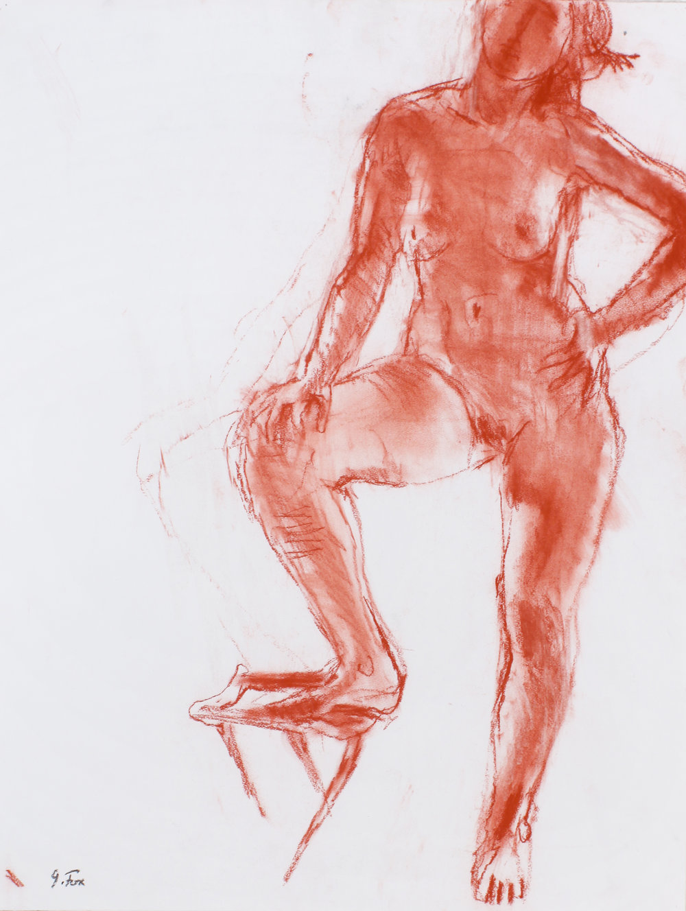 1990s_Nude_with_Foot_on_Folding_Stand_red_conte_on_Paper_26x20in_WPF491.jpg