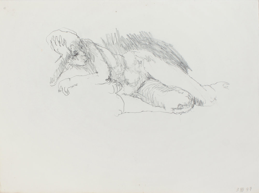 1996_Reclining_Nude_with_Hand_on_head_and_Bent_Legs_pencil_on_paper_11x15in_WPF501.jpg