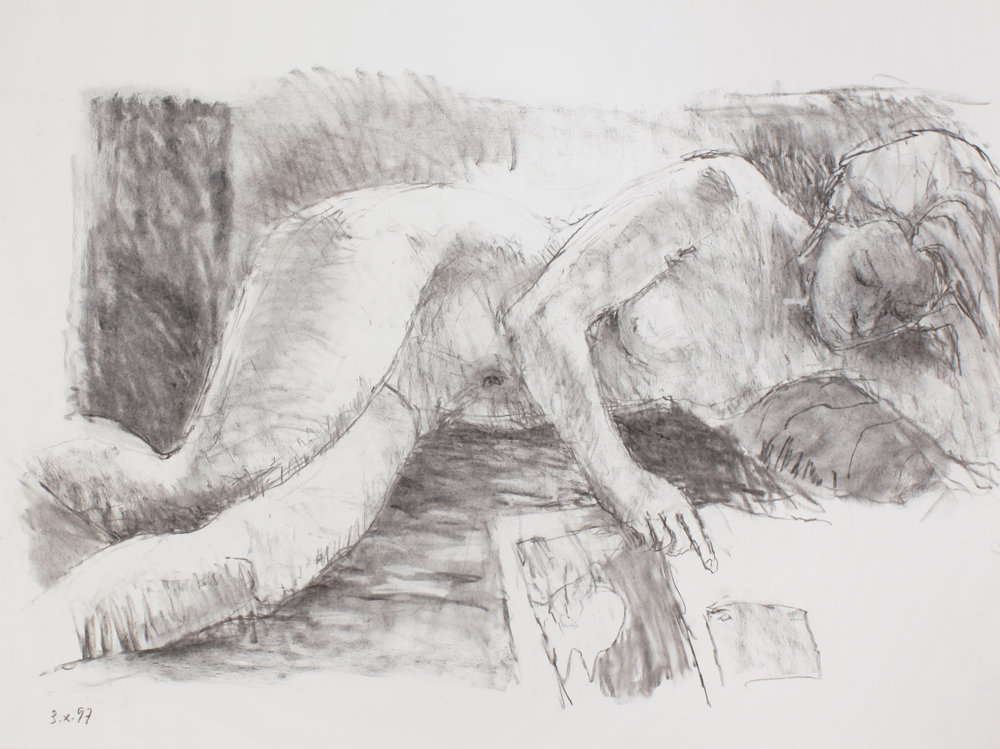 1997_Reclining_Nude_Reading_Newspaper_charcoal_on_paper_22x30in_WPF458.jpg