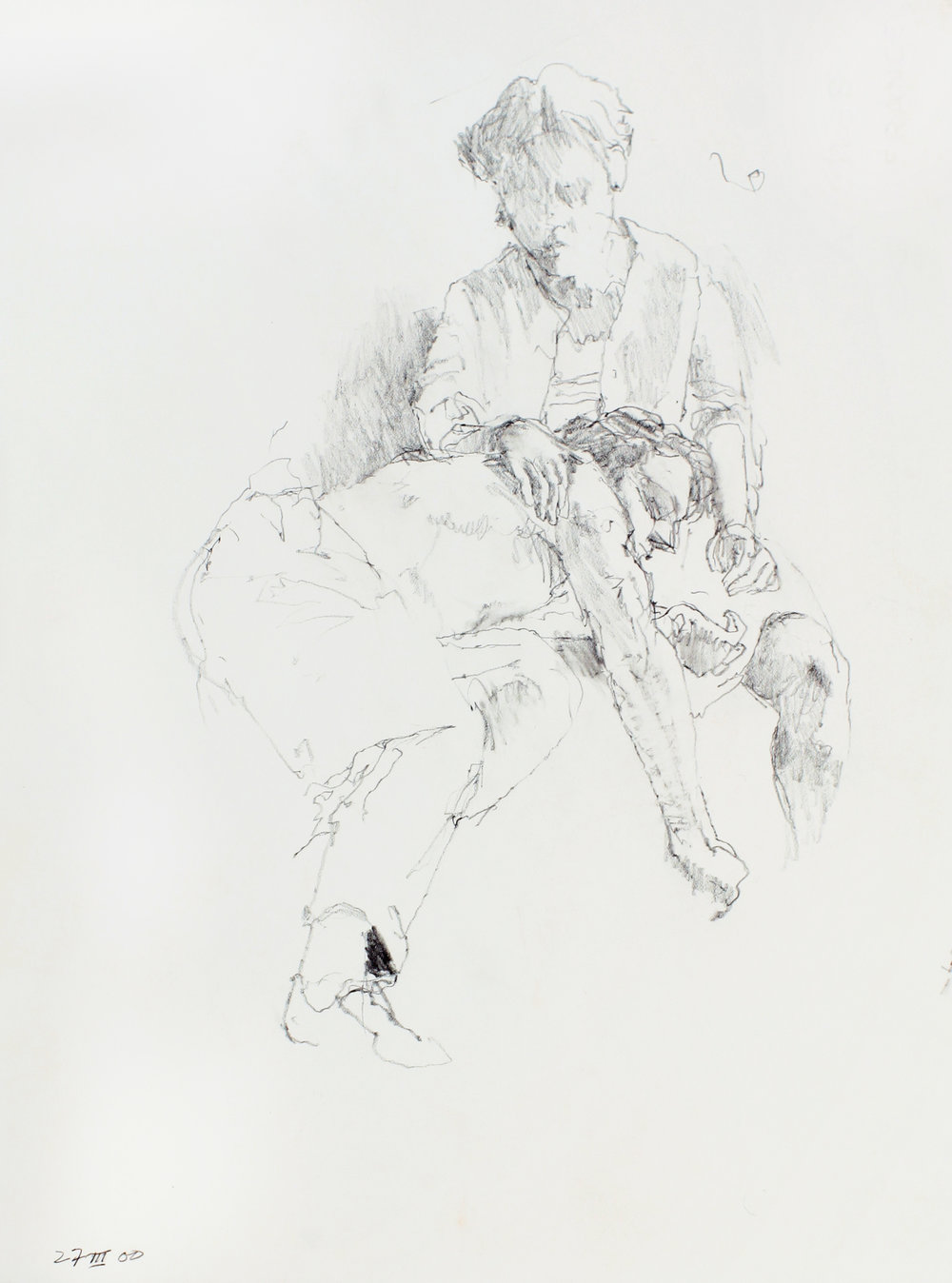 2000_Female_Figure_Reclining_on_Lap_of_Male_Figure_pencil_on_paper_15x11in_WPF587.jpg