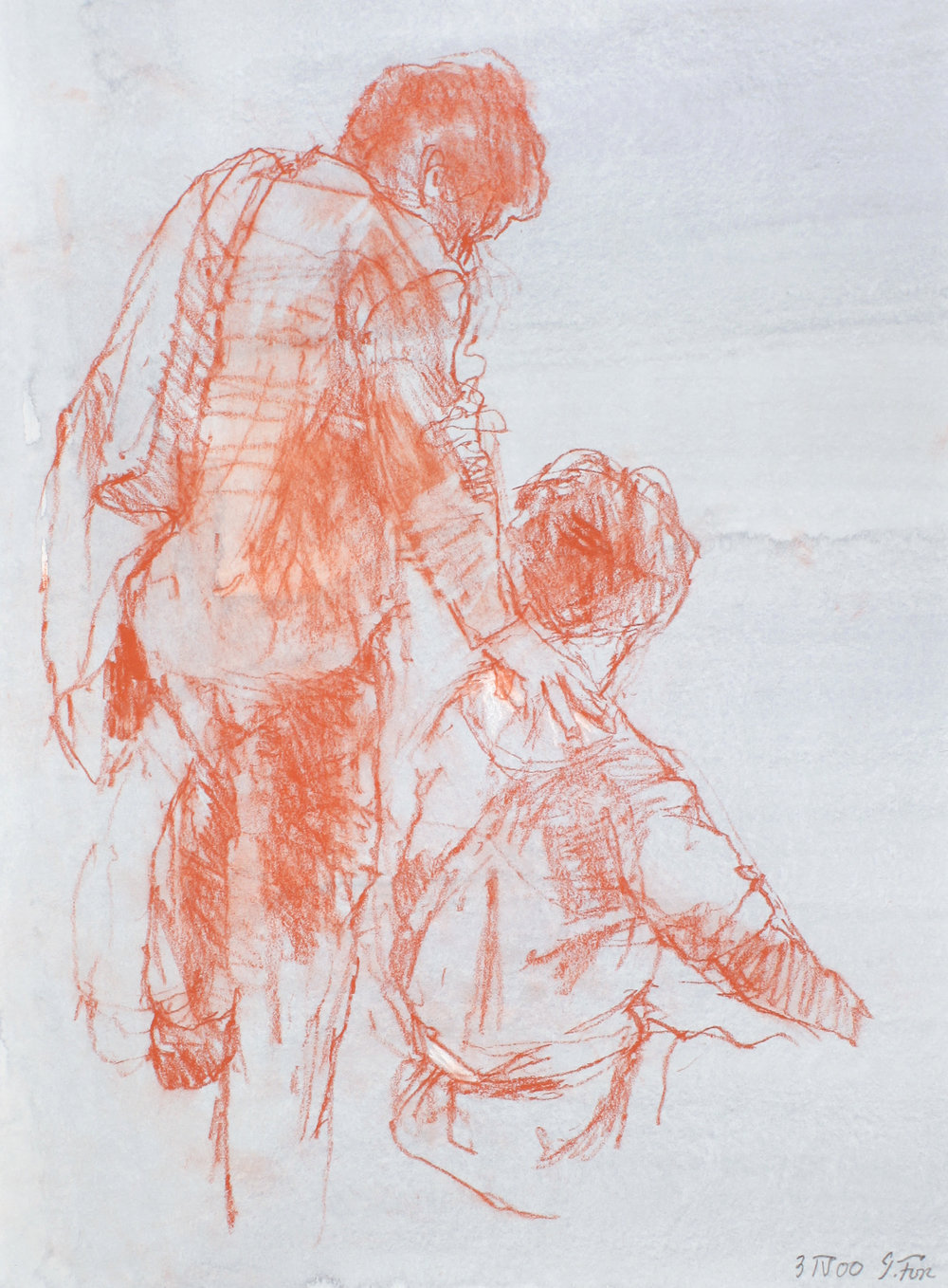 2000_Female_Figure_Standing_Behind_Seated_Male_red_conte_on_paper_15x11in_WPF547.jpg