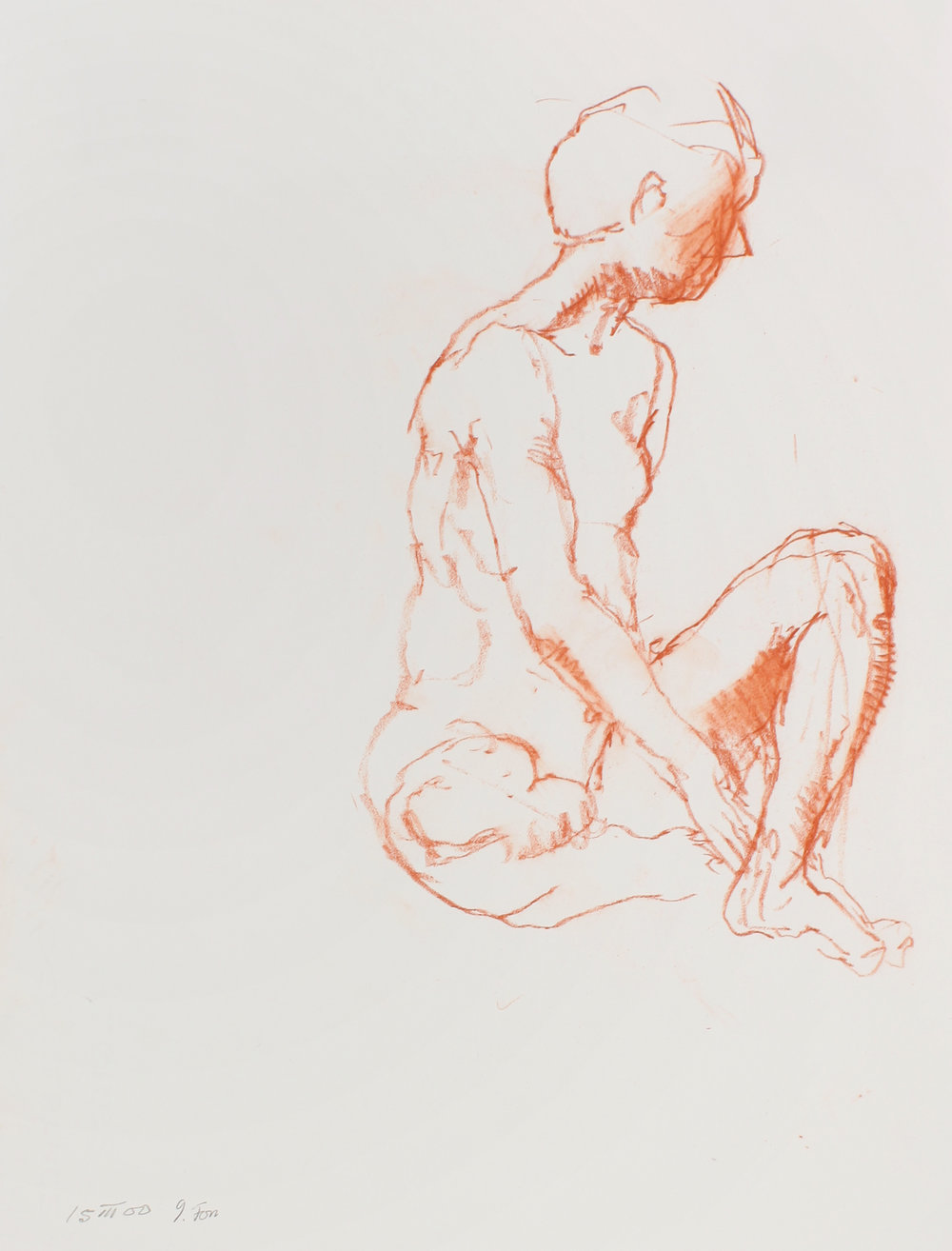 2000_Seated_Male_Nude_with_Raised_Bent_Leg_red_conté_on_paper_15x11in_WPF530.jpg