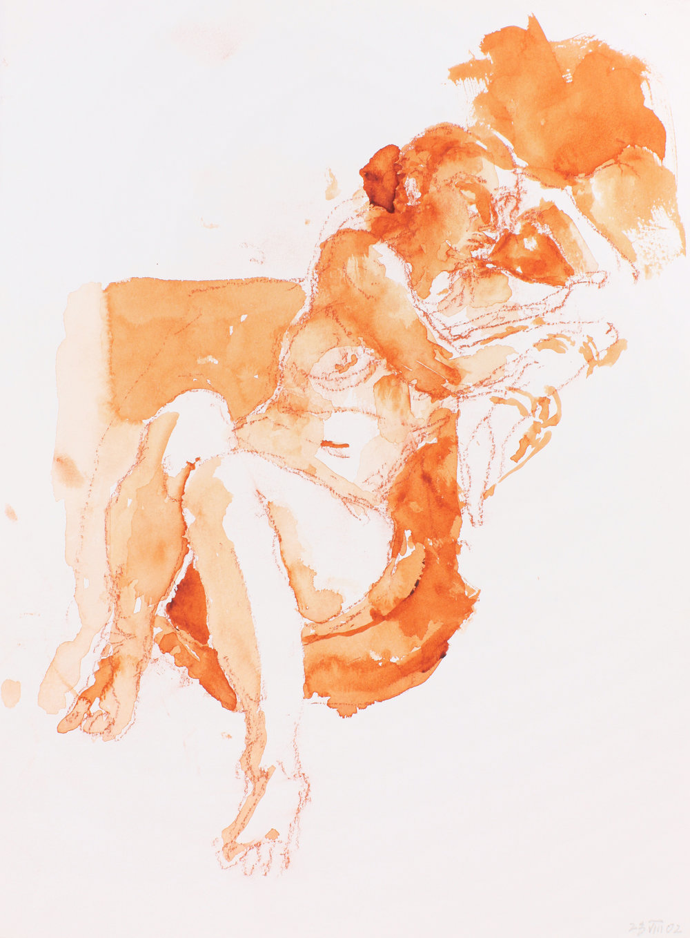 2002_Nude_Seated_on_Sofa_with_Right_Arm_at_Head_Facing_Right_watercolour_and_red_conté_on_paper_15x11in_WPF214.jpg