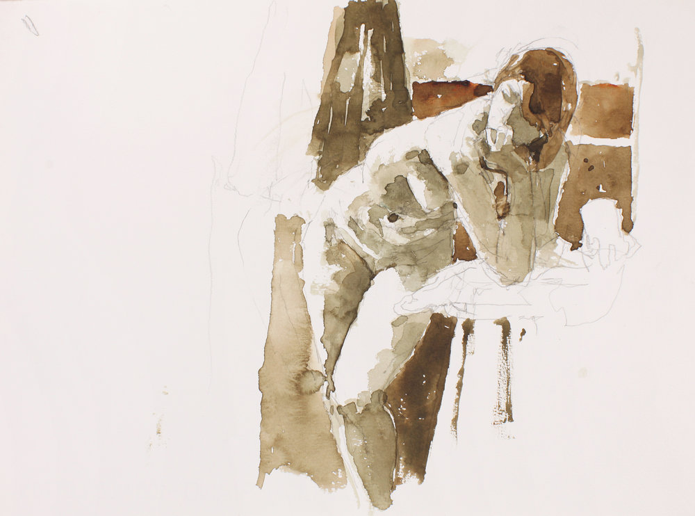 2005_Nude_in_Studio_Leaning_against_Table_with_Arm_Raised_to_Mouth_watercolour_and_pencil_on_paper_11x15in_WPF416.jpg